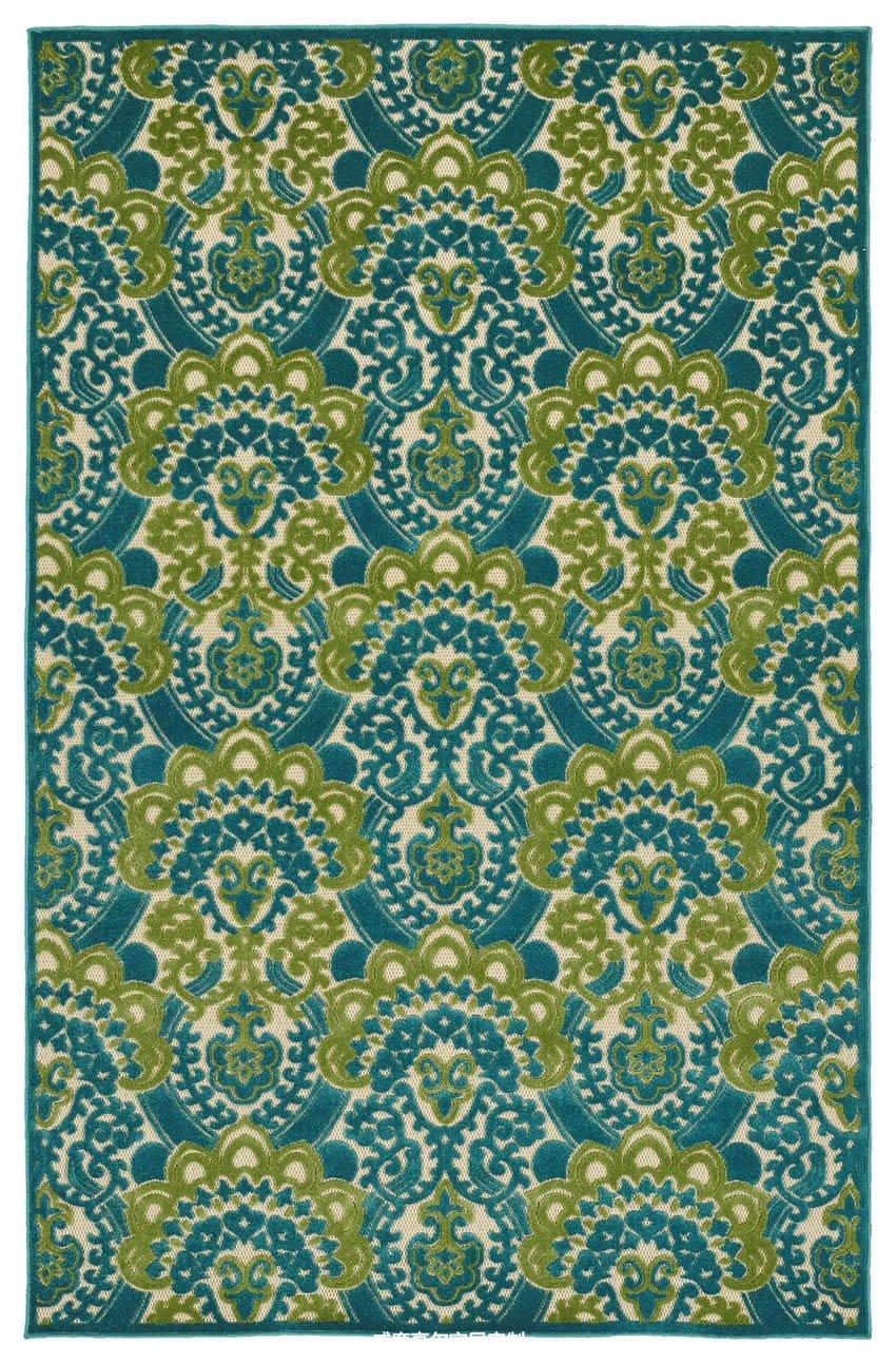 美式风格绿色花纹地毯贴图图片
