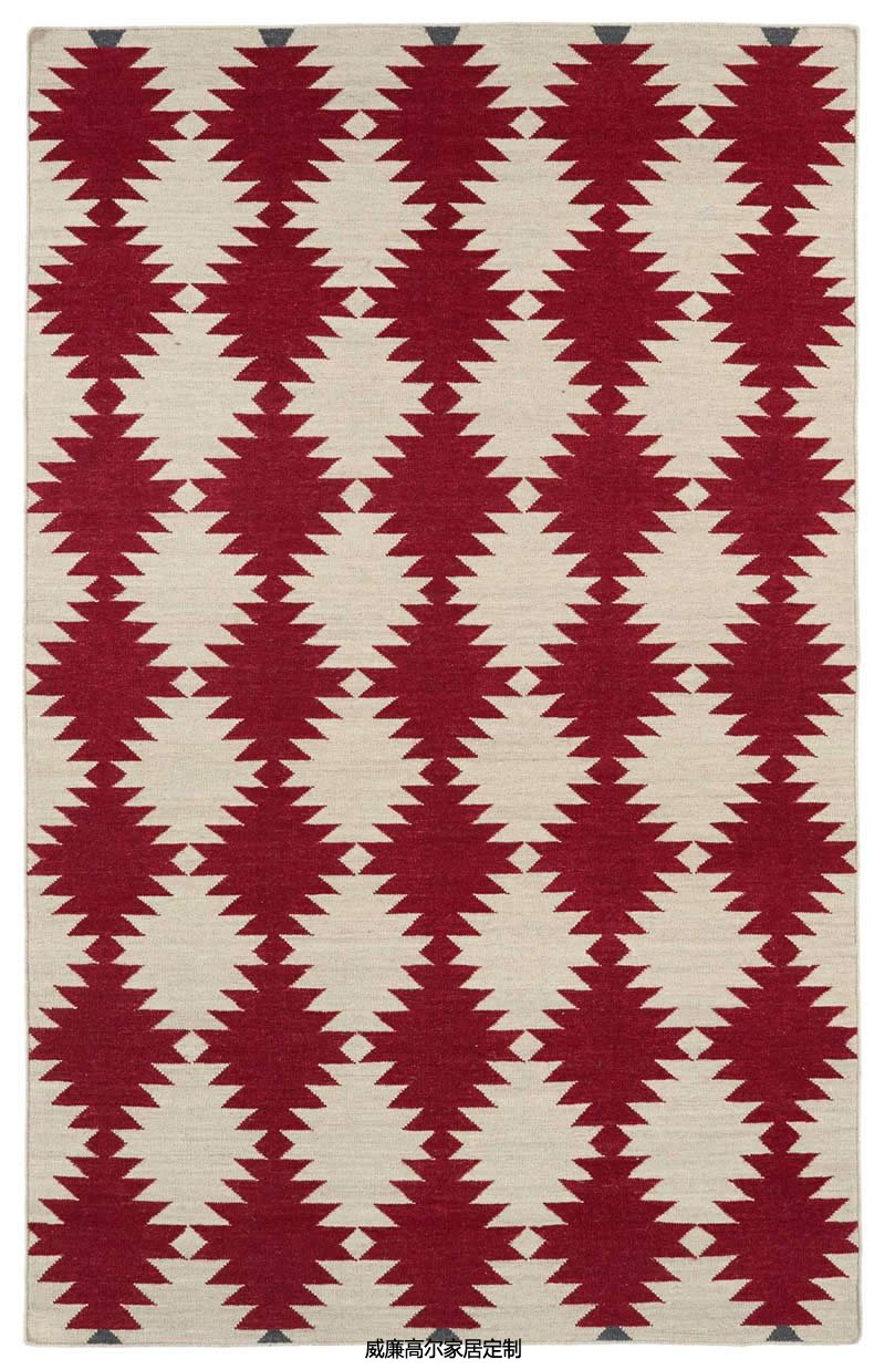 现代风格红色几何棱形图案地毯贴图图片