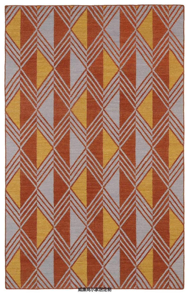 现代风格橙黄色几何棱形图案地毯贴图图片