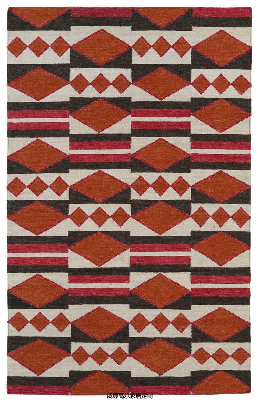 现代美式风格橙红色几何图案地毯贴图图片