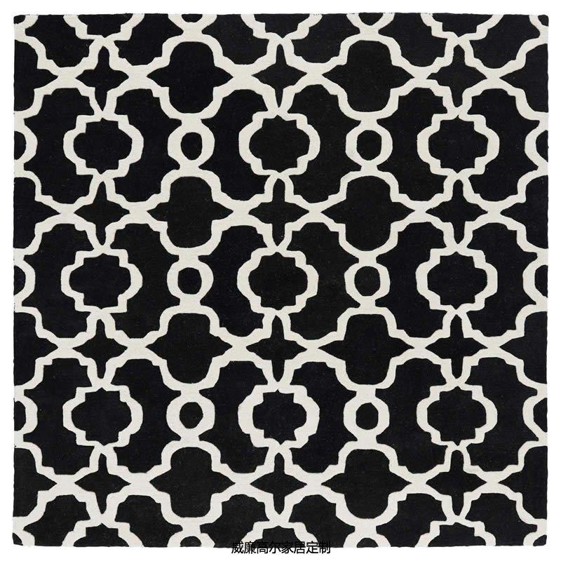 现代简约黑色几何图案客厅地毯贴图图片