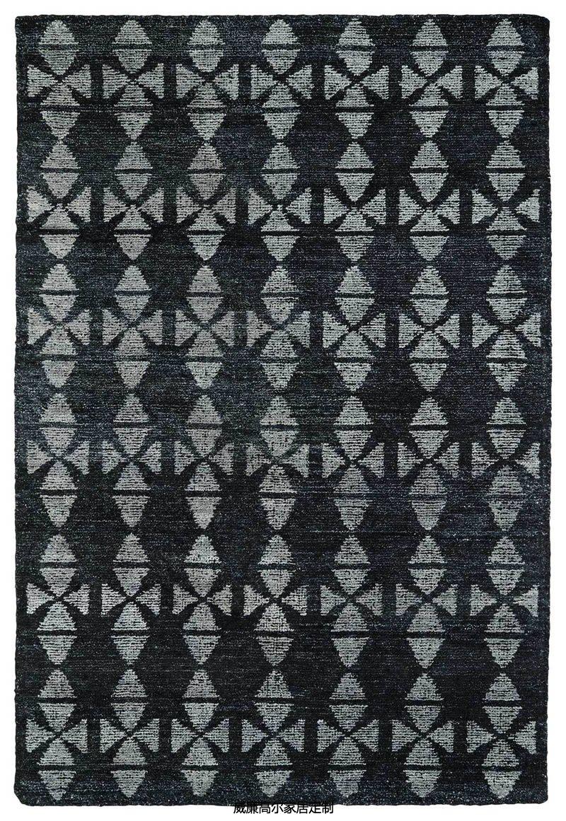 现代风格黑色简约几何图案地毯贴图图片