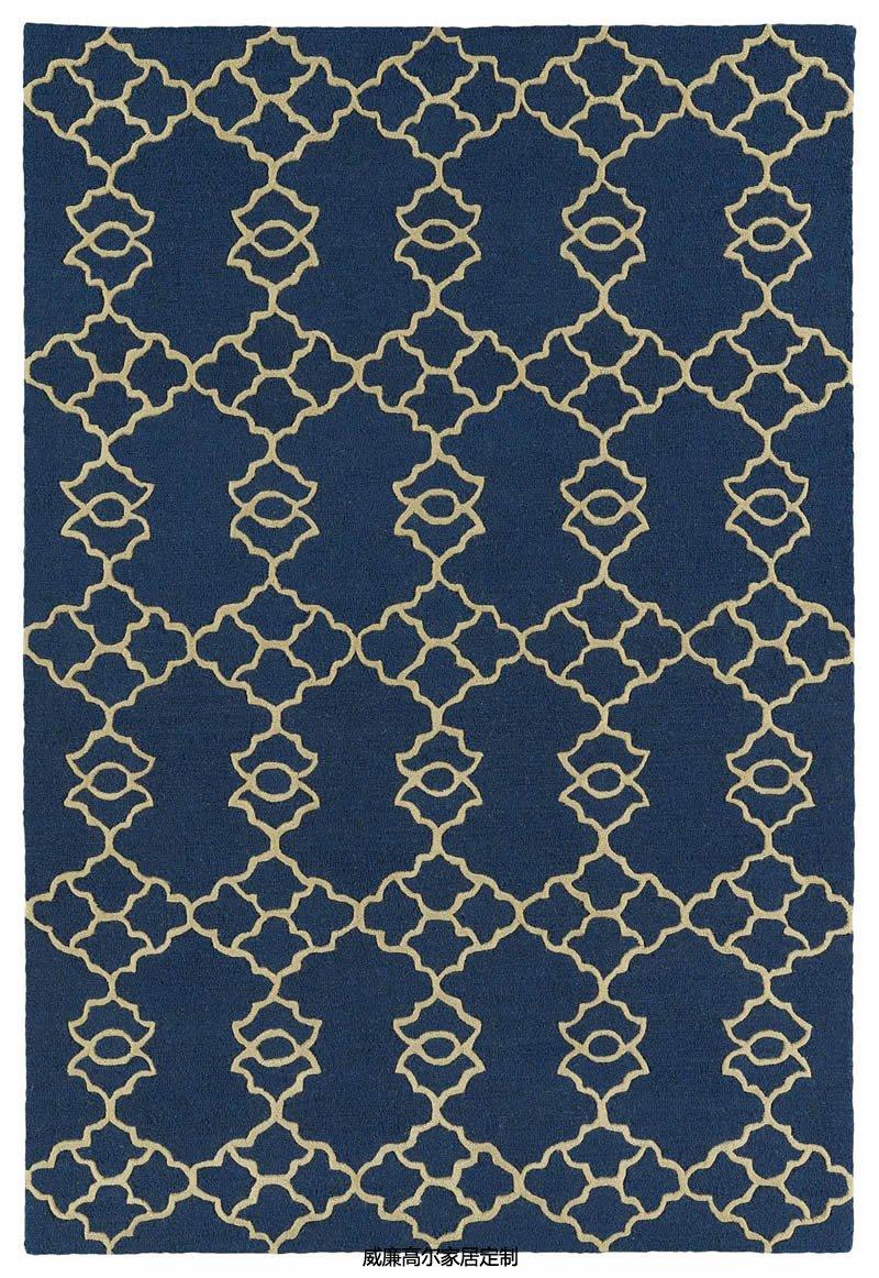 现代简约蓝色几何图案地毯贴图图片