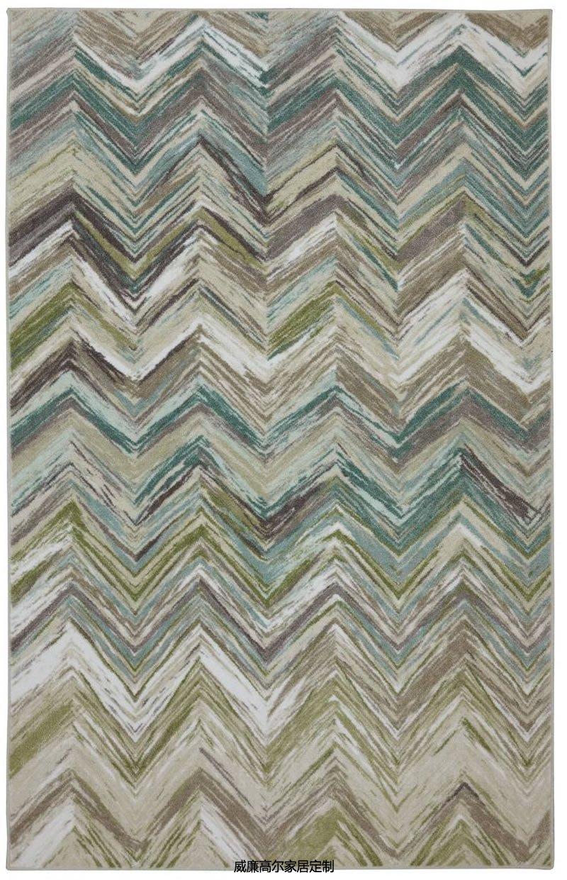 现代美式风拼色几何图案地毯贴图图片