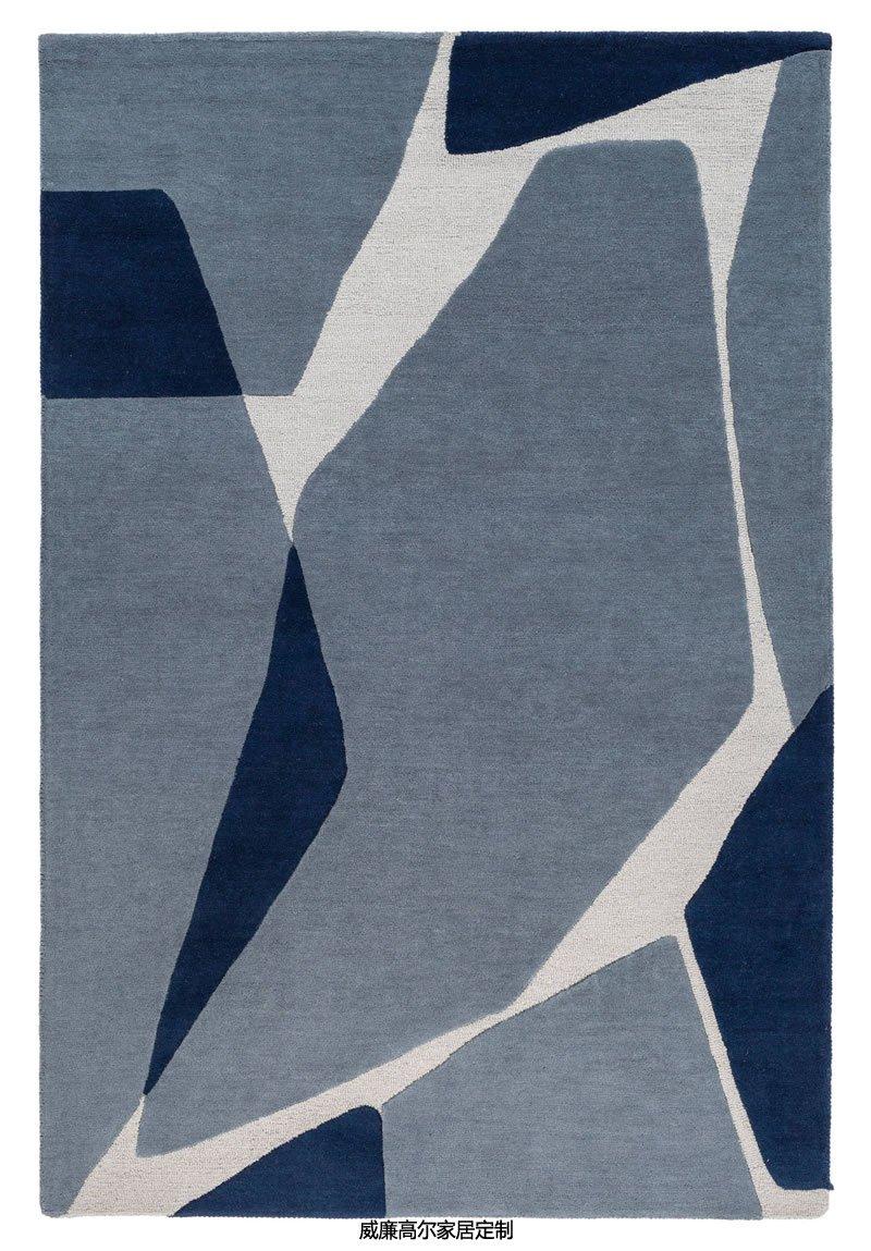 现代简约灰蓝色几何拼块地毯贴图图片