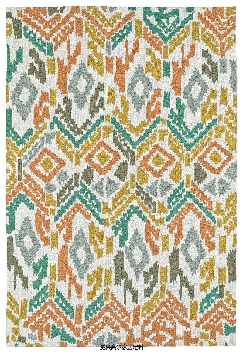 现代风格拼色几何图案地毯贴图图片