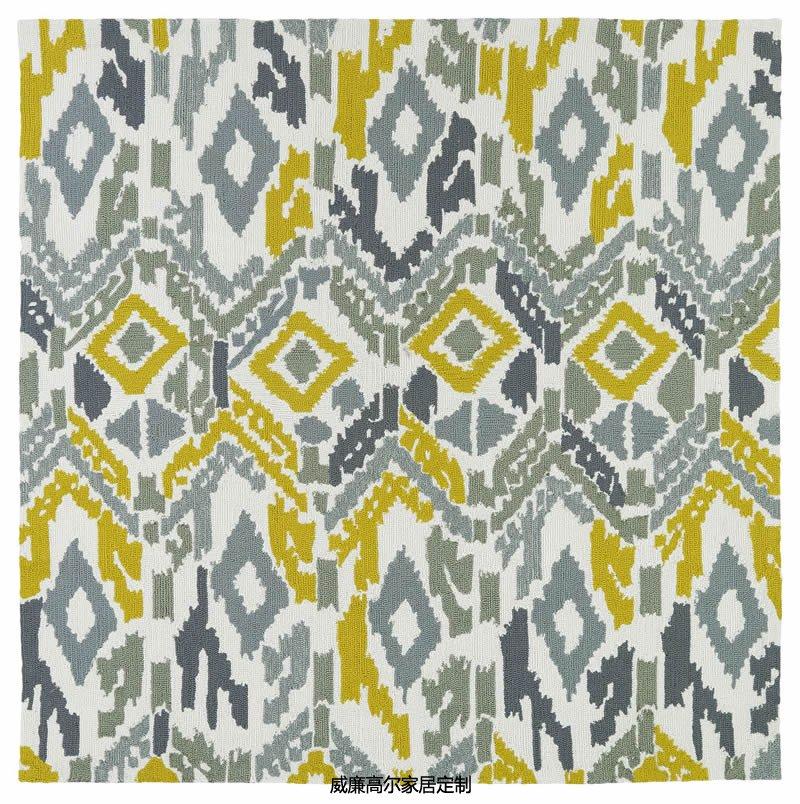 现代风格灰黄色几何图案地毯贴图图片