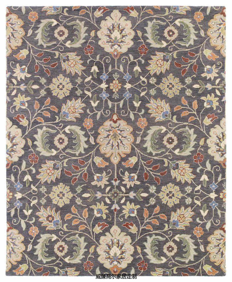 美式风格客厅花纹图案地毯贴图图片