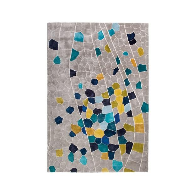 现代风格灰色底蓝黄色几何图案地毯贴图图片