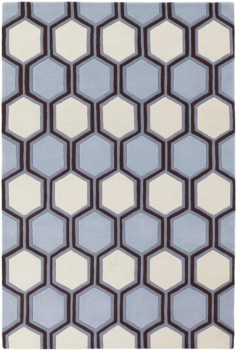 现代风格蓝白色六角几何图案地毯贴图图片