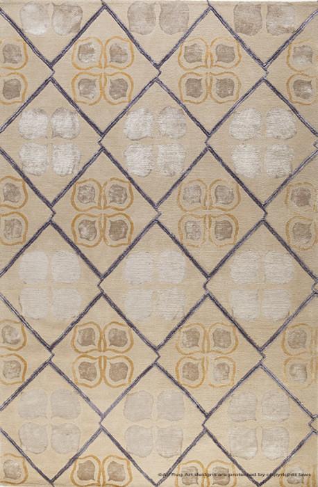 现代风格土黄色几何图案地毯贴图图片