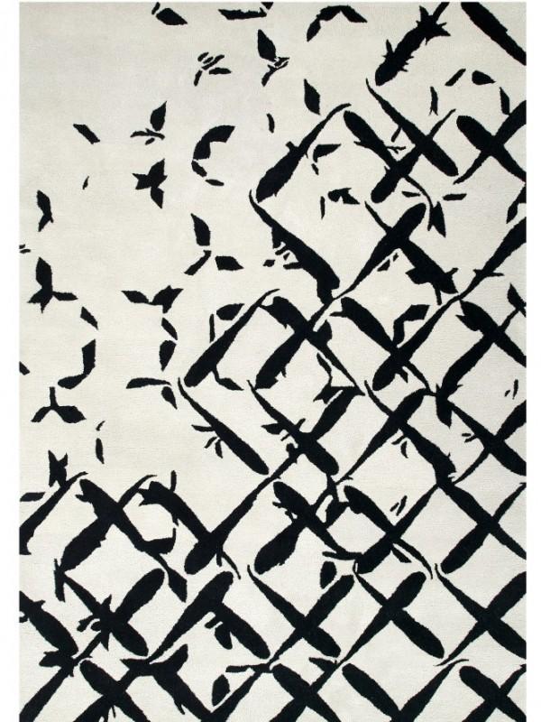 现代简约黑白抽几何抽象图案地毯贴图图片