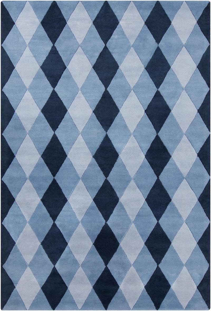 现代风格深浅蓝色几何图案地毯贴图图片