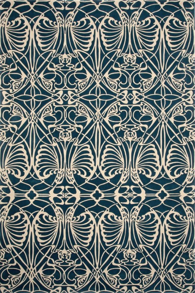 现代美式风格蓝色几何蝴蝶图案地毯贴图图片