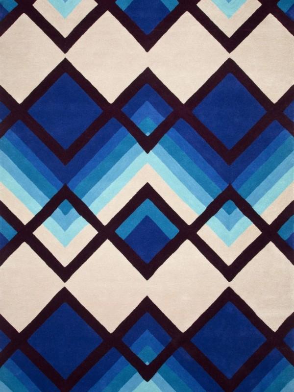 现代风格几何棱形蓝色图案地毯贴图图片