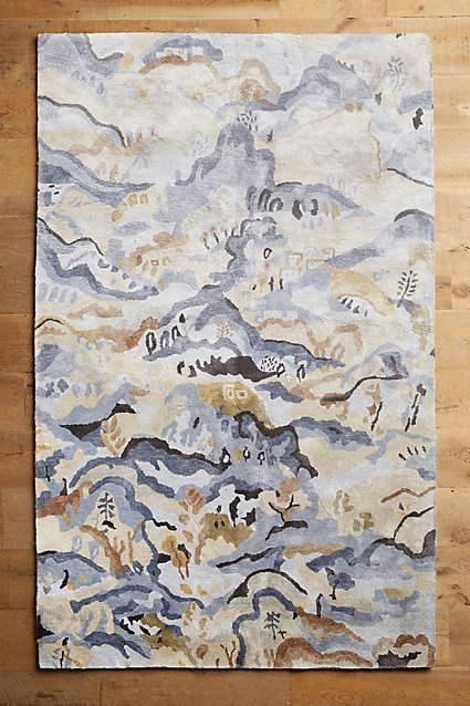 新中式意境山脉风景图案地毯贴图