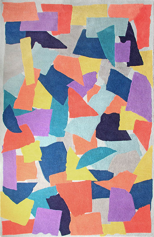 现代简约彩色几何抽象图案地毯贴图图片