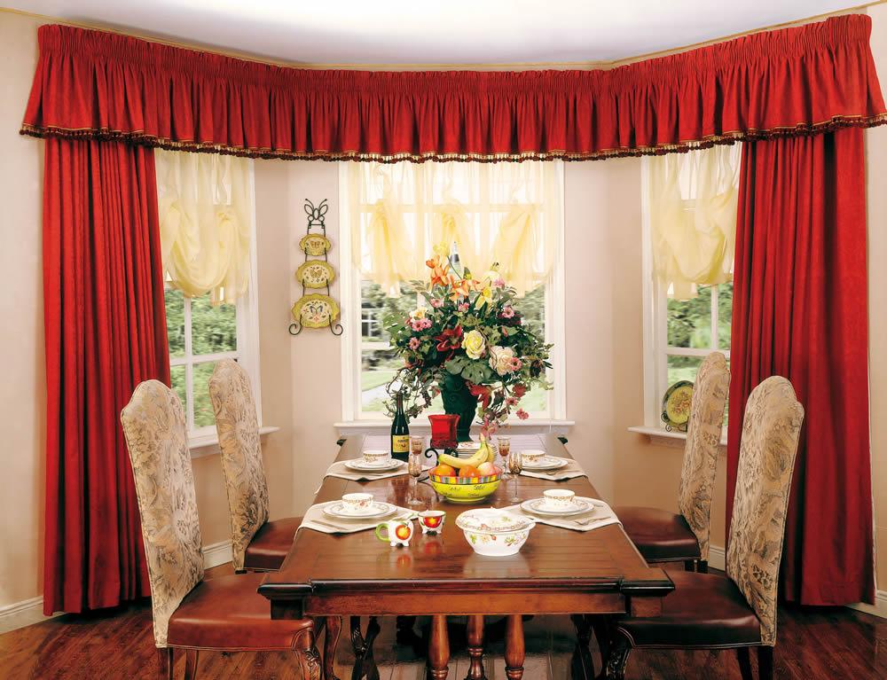 美式田园红色客厅窗帘图片